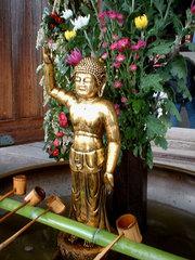 写真:東大寺大仏殿前に設置された花小堂の誕生仏